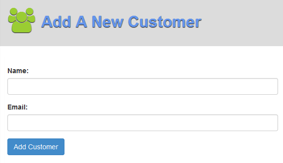 Screenshot of 'Add A New Customer' screen